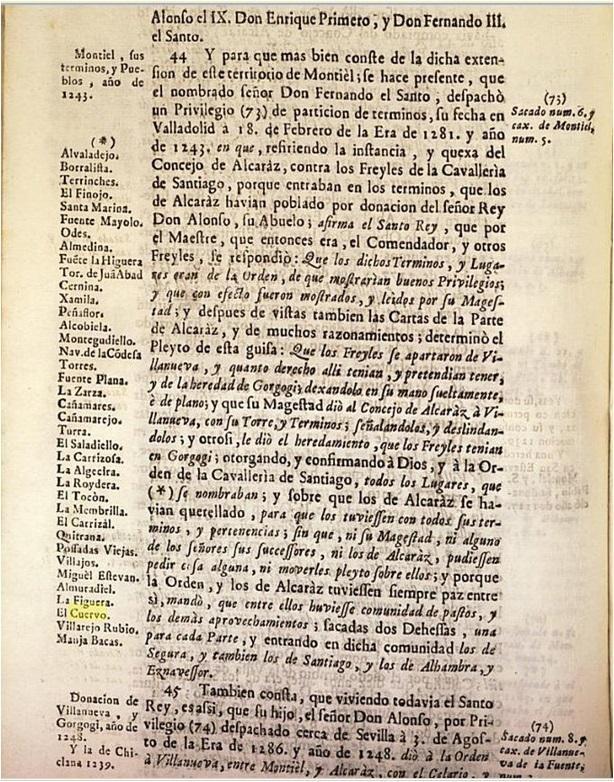 Montiel, sus términos y pueblos, año de 1243 . Chaves Bernabé, Apuntamiento Legal.