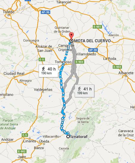 Camino desde Mota a Iznatoraf por la Cañada Real de Andalucía