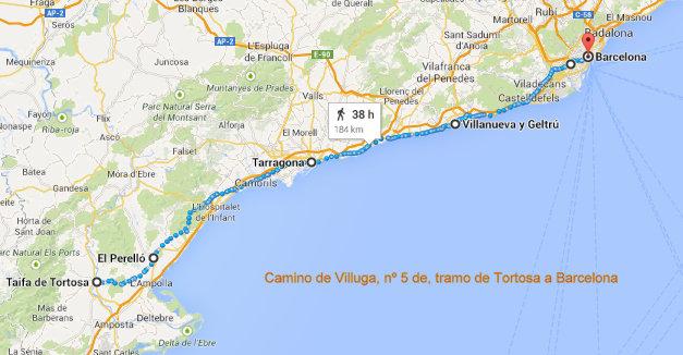 Camino de Villuga de Tortosa a Barcelona