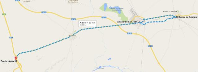 mapa Alcázar-Criptana-Alcázar-Puerto Lápice