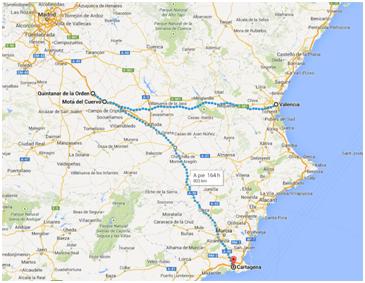 Mapa camino a Valencia y a Murcia