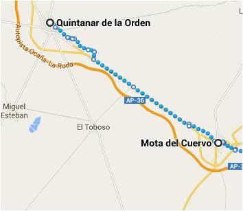 Mapa de Quintanar a Valencia pasando por Mota