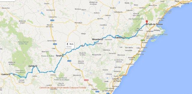 Mapa Villuga Camino de Cuenca a Tortosa