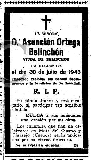 Esquela de Dª Asunción Ortega Belinchón