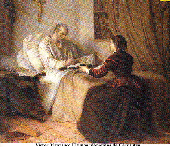 Últimos momentos de Cervantes, por Víctor Manzano