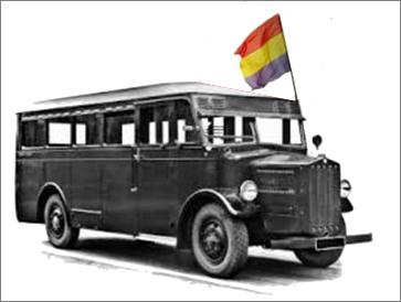 Autobús de línea con la bandera republicana
