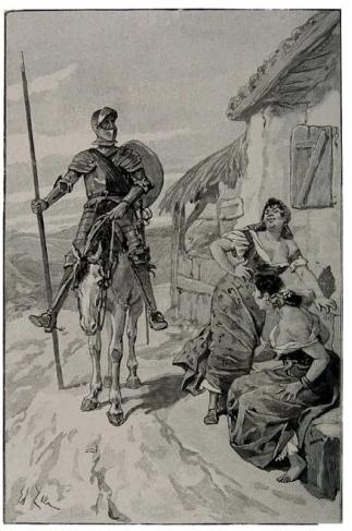 D. Quijote en la venta. grabado de Edouard Z