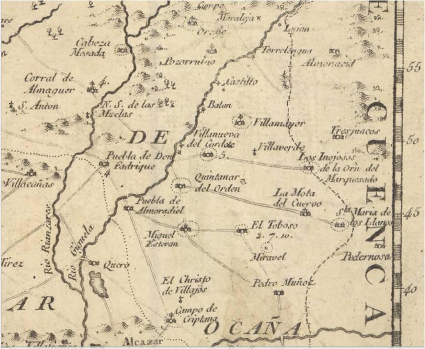 Mapa parcial provincia de Toledo 1681